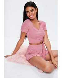 Missguided Pink Knot Front Crop Frill Short Pajama Set