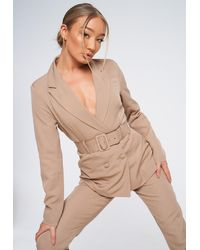 Missguided Co Ord Double Breasted Belted Blazer - Natural