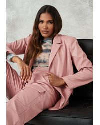 Missguided Blush Co Ord Faux Leather Long Blazer - Pink