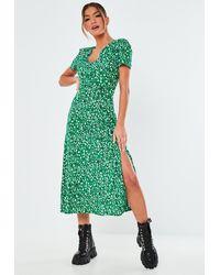 Missguided Leopard Button Midi Tea Dress - Green