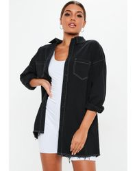 Missguided - Black Oversized Utility Shirt Dress - Lyst