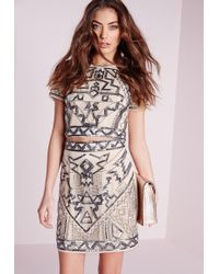Missguided - Premium Aztec Embellished Mini Skirt Nude - Lyst