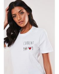 Missguided White Current Mood Graphic T Shirt