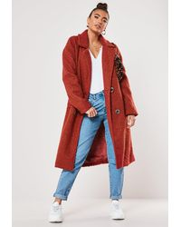 Missguided Rust Double Breasted Coat - Red