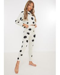 Missguided Co Ord Polka Dot Joggers - Natural