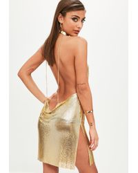 Missguided - Gold Backless Chainmail Cowl Shift Dress - Lyst