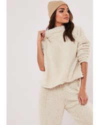Missguided Stone Teddy Borg High Neck Top - Natural