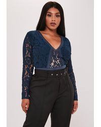 Missguided Plus Size Navy Sports Tape Long Sleeve Bodysuit - Blue