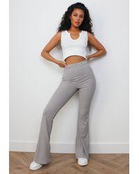 Missguided Rib Flared Pants - Gray