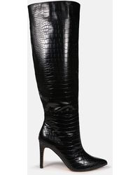 Missguided Croc Over The Knee Mid Heel Boots - Black
