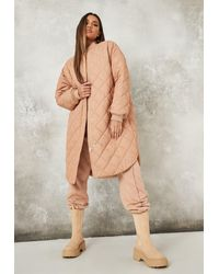 Missguided Diamond Quilted Long Bomber Jacket - Natural