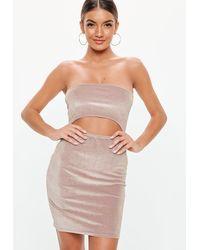 Missguided Velvet Glitter Bandeau Bodycon Mini Dress - Pink