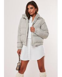 Missguided Petite Gray Hooded Puffer Jacket