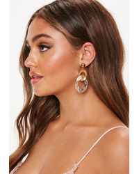 Missguided - Gold Resin Layered Hoop Earrings - Lyst