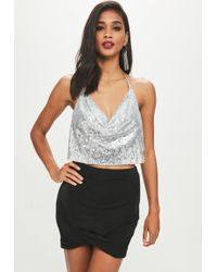Missguided - Petite Black Slinky Wrap Skirt - Lyst