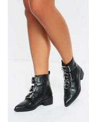 Missguided - Black Three Buckle Pointed Biker Boots - Lyst