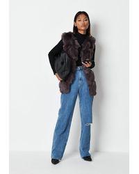 Missguided Charcoal Faux Fur Bubble Vest - Grey