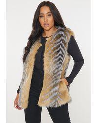 Missguided Plus Size Brown Faux Fur Gilet