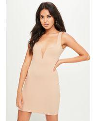Missguided - Pink V Bar Crepe Mini Dress - Lyst