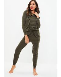 Missguided - Khaki Frill Lounge Tracksuit - Lyst