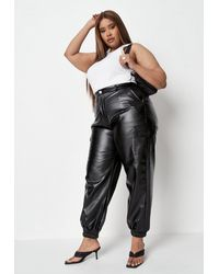 Missguided Plus Size Faux Leather Cargo Trousers - Black