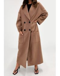 Missguided Camel Oversized Formal Coat - Multicolor