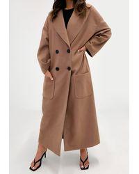 Missguided Camel Oversized Formal Coat - Multicolour