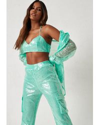 Missguided Dani Michelle X Turquoise Co Ord Sequin Bralette - Blue