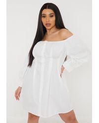 Missguided - Size White Bardot Pleated Waist Poplin Shirt Dress - Lyst