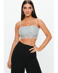 b795054163 Missguided - Grey Straight Neck Strappy Lace Bralet - Lyst