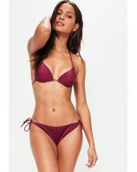 Missguided - Cherry Red Tie Side Bikini Bottoms - Mix&match - Lyst