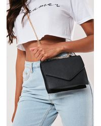Missguided Faux Leather Chain Shoulder Bag - Black