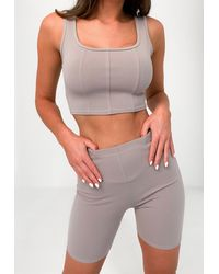 Missguided Grey Corset Crop Top Cycling Short Co Ord Set