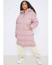 Missguided Size Mocha Longline Padded Puffer Coat - Pink