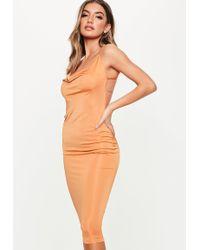 Missguided Rust Slinky Cowl Bodycon Midi Dress - Orange