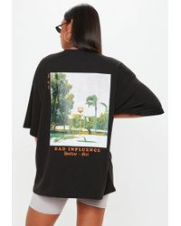 Missguided - Black Bad Influence Graphic Oversized T Shirt - Lyst