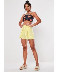 Missguided Yellow Satin Frill Shorts