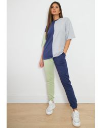 Missguided Colourblock T Shirt And Joggers Co Ord Set - Blue