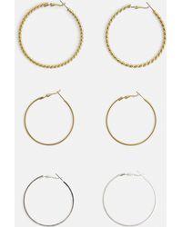 Missguided - 3 Pack Large Hoop Earrings - Lyst