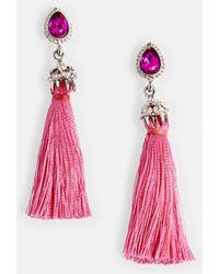 Missguided - Pink Diamante Tassel Earrings - Lyst
