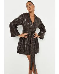 Missguided Snake Print Faux Leather Wrap Front Dress - Brown