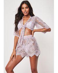 Missguided Premium Mauve Co Ord Lace Scallop Hem Beach Shorts - Purple