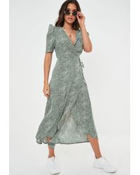 Missguided Green Printed Midi Wrap Dress