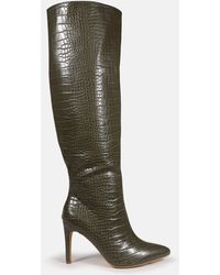 Missguided Croc Over The Knee Mid Heel Boots - Green