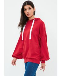 Missguided - Red Over Sized Puff Sleeve Hoodie - Lyst