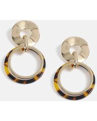 Missguided - Brown Tortoiseshell Circle Drop Earrings - Lyst