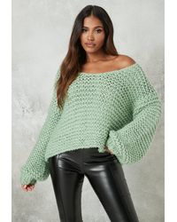 Missguided - Mint Hand Knit V Neck Oversized Sweater - Lyst