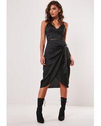 Missguided Petite Black Wrap Tie Slip Skirt