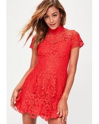 ef6cebb81a00 Missguided White Short Sleeve Lace Double Layer Dress in White - Lyst