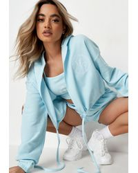 Missguided - Blue Waffle Embroidered Cropped Hoodie - Lyst